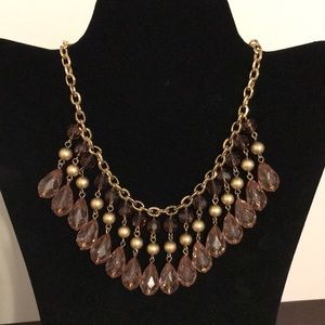 NWT Ann Taylor Gold Beaded Necklace